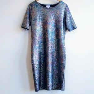 LuLaRoe Julia Mermaid Dress Iridescent Oilslick XL